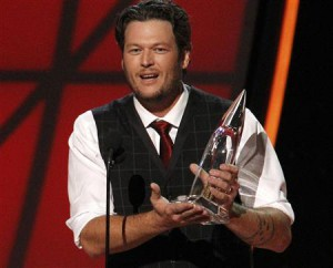 Blake Shelton accepts the award for entertainer of the year at the 46th Country Music Association Awards in Nashville